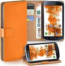 MoEx® Funda Cartera [protección 360°] Compatible con Samsung Galaxy S4 | Cierre magnético, Orange