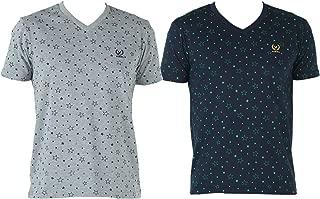 VIMAL JONNEY V Neck Multicolor Cotton Tshirts for Men(Pack of 2)-V-PRT-NO.1-MLG_PRT-NO.1-NVY_02-P