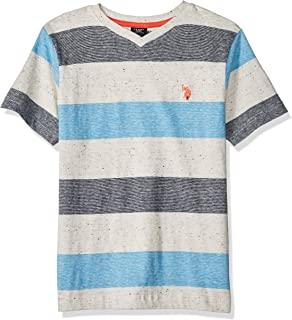 Boys' Short Sleeve Mini Stripe V-Neck T-Shirt