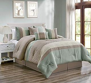 "JYK King Size Comforter Set (90""x104"") 7 Piece Bed-in-a-Bag Set (Comforter, 2 Pillow Shams, 2 Square Decorative Pillows, Oblong Decorative Pillow, Bed Skirt), Mint"