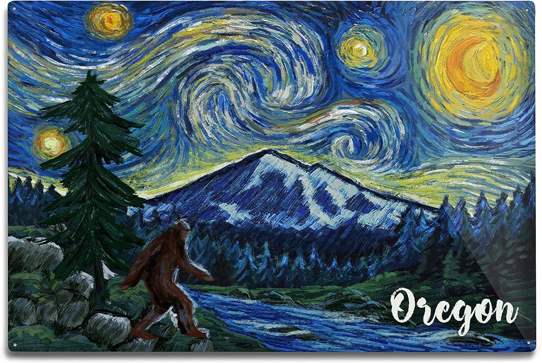 Lantern Press Oregon Limited time sale Columbia River Nippon regular agency Starry Bigfoot 12x Night