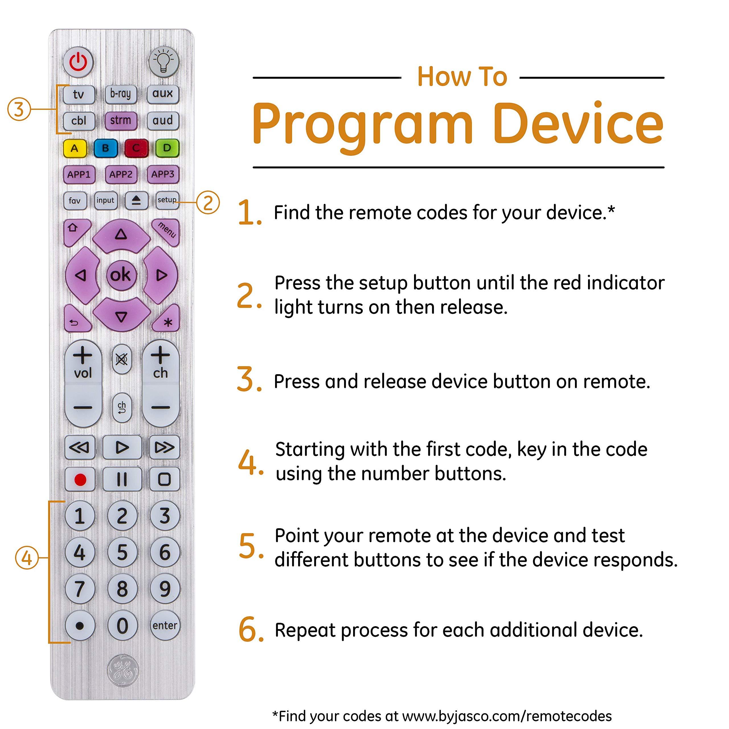 Blu-Ray Lg Smart TVs DVD Streaming Players 37038 Sharp 6-Device Vizio Master Volume Control Silver Sony Roku Apple TV GE Backlit Universal Remote Control for Samsung