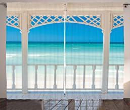 Ambesonne Coastal Curtains, Romantic Wooden Terrace with View of Tropical Beach in Cuba Pavilion Image, Living Room Bedroom Window Drapes 2 Panel Set, 108