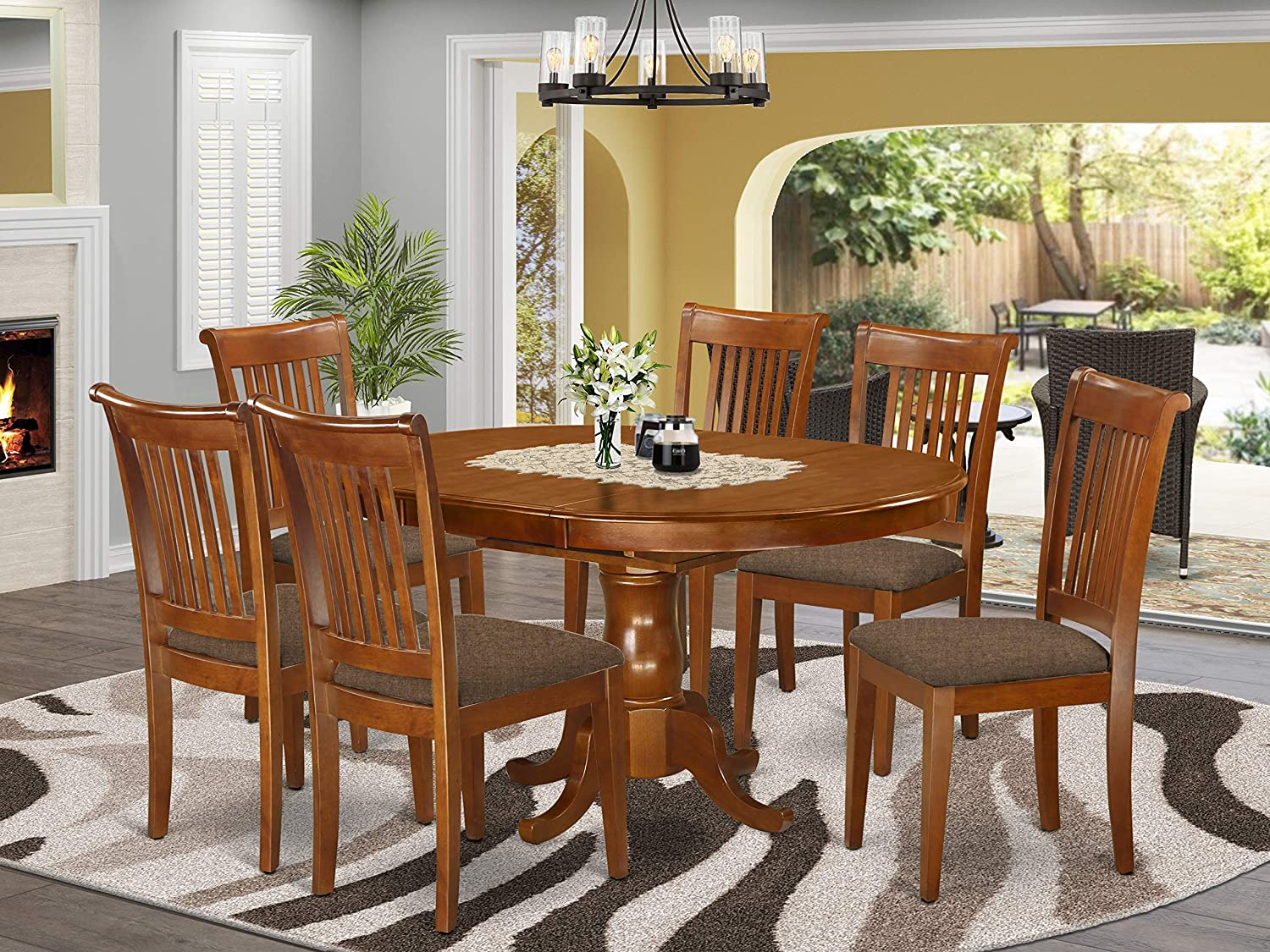 Amazon Com 7 Pc Dining Room Set Oval Dining Table With Leaf And 6 Dining Chairs Furniture Decor