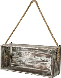 MyGift Rustic Torch Wood Floating Shelf Box with Thick Hanging Rope, Decorative Shadow Box