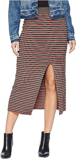 Multicolor Stripe Rib High-Waist Pencil Skirt