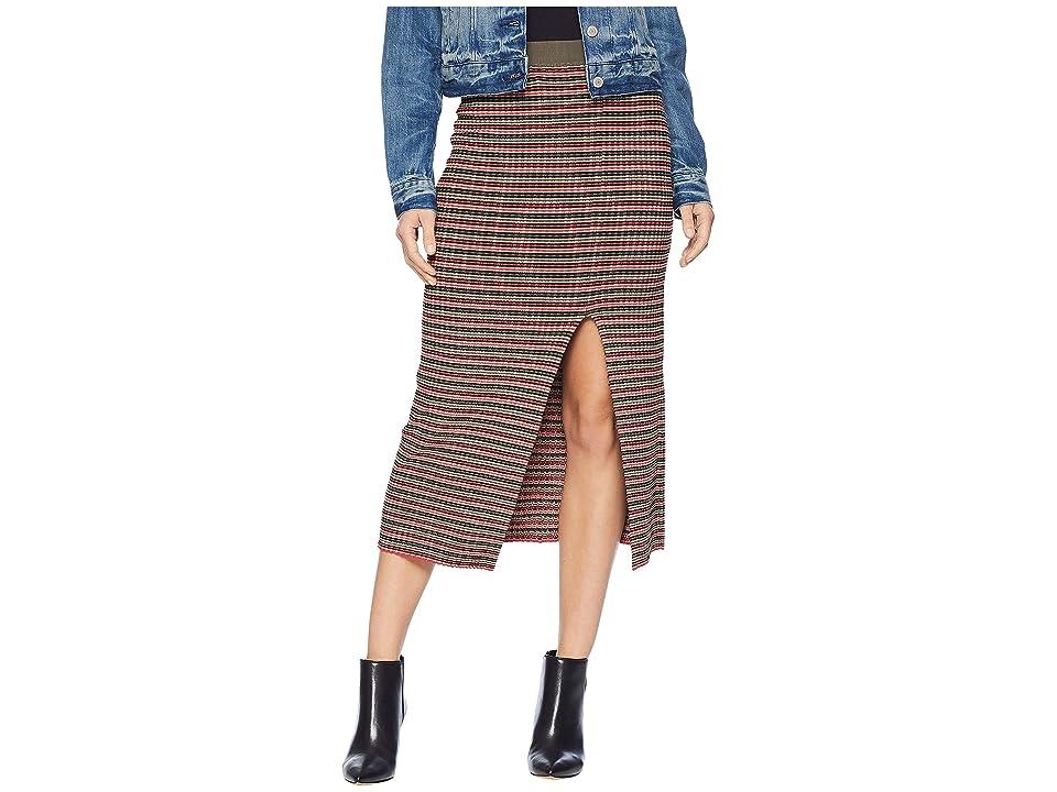 BCBGMAXAZRIA Multicolor Stripe Rib High-Waist Pencil Skirt (Dark Olive) Women