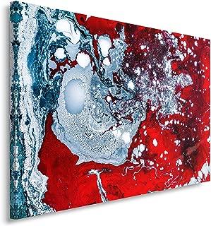 Feeby Cuadro en Lienzo - 1 Parte - 80x120 cm, Imagen Impresión Pintura Decoración Cuadros de una Pieza, Abstracto, Líquido, Rojo