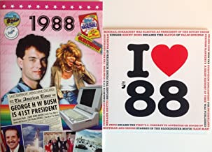 1988 BIRTHDAY or ANNIVERSARY GIFT - 1988 DVD with Best 56 Minutes of News Footage & 1988 Music Compilation CD with 20 Original Hit Songs and Two Year Greetings Cards