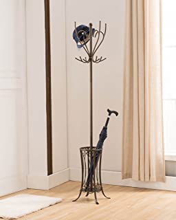 Kings Brand Furniture - Metal Coat Hat Rack Stand with Umbrella Holder, Pewter