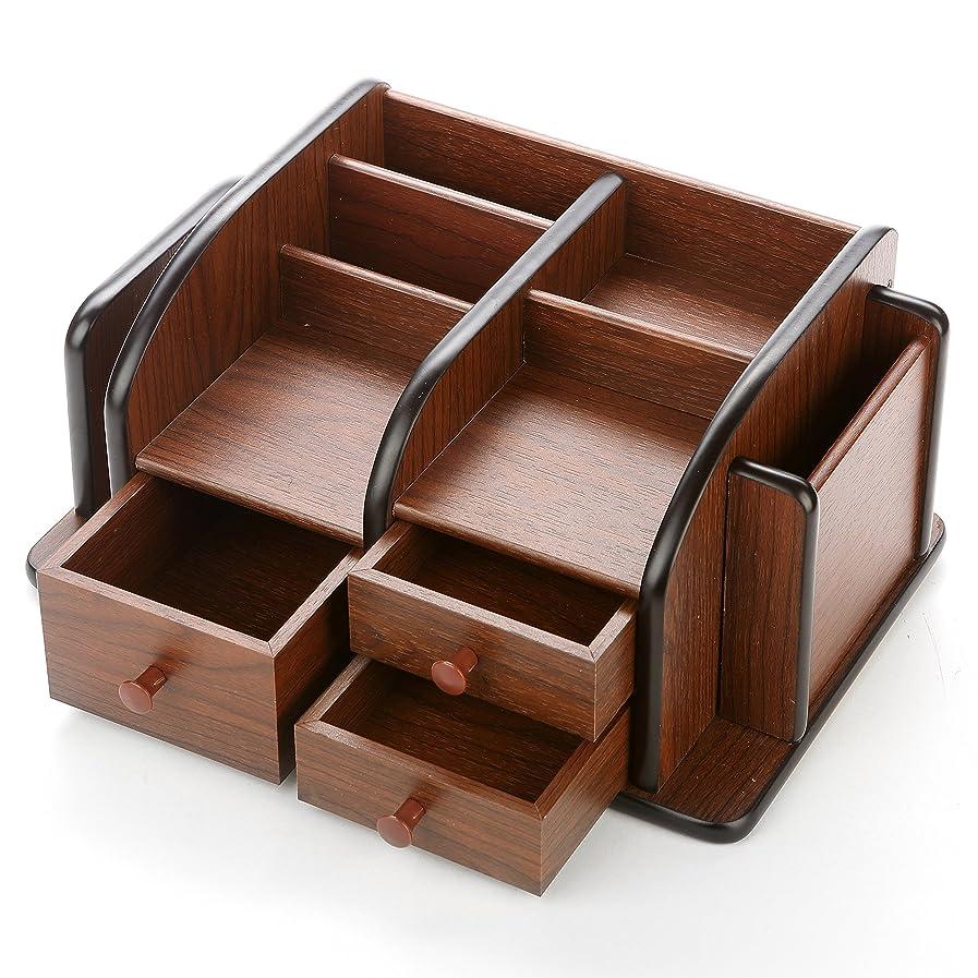 ビジュアルトースト着飾るMyGiftクラシックブラウン木製オフィス用品デスクオーガナイザーラック引き出し3、3コンパートメント& 2シェルフ
