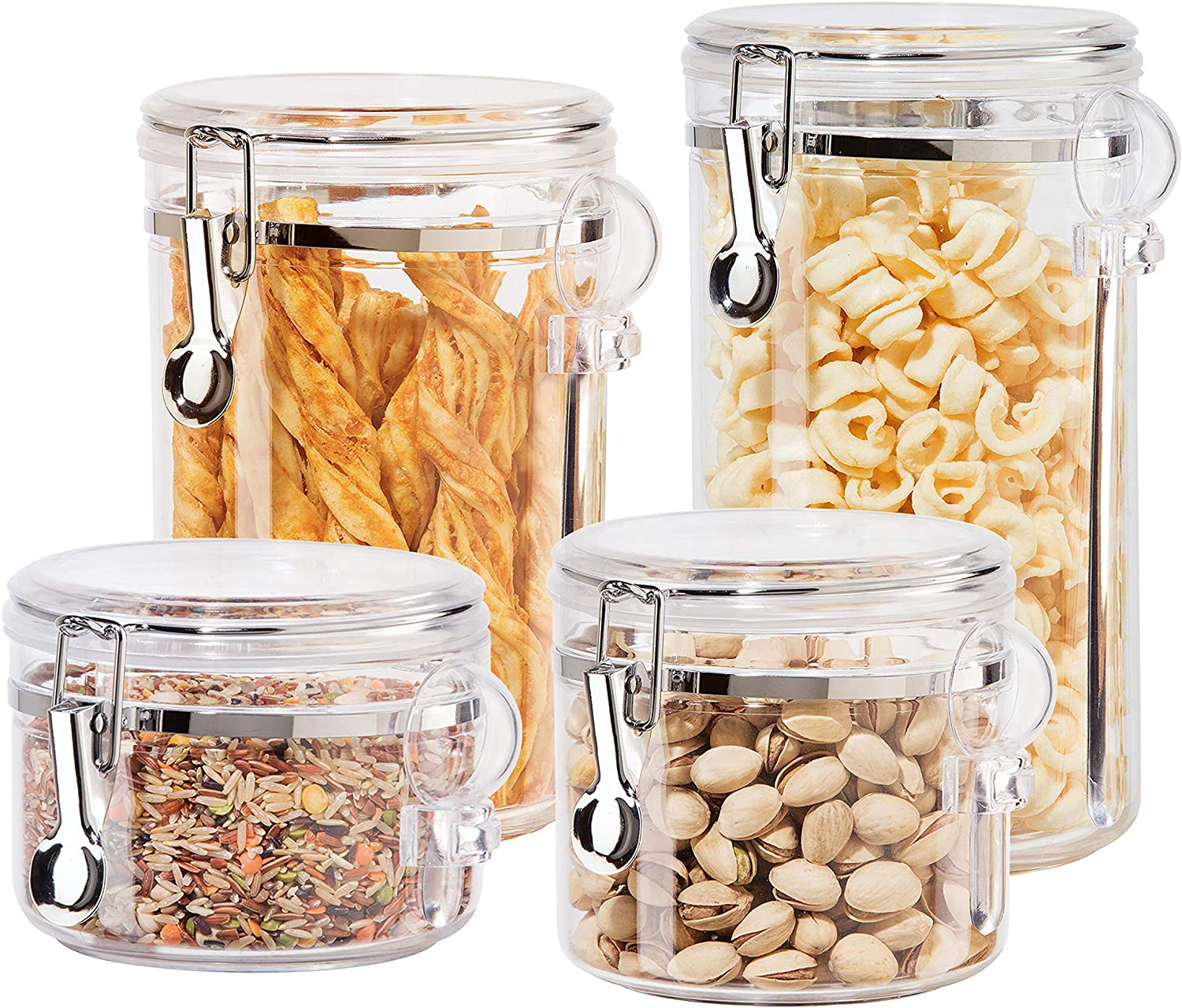 Amazon Com Oggi 4pc Clear Canister Set With Clamp Lids Spoons Airtight Containers In Sizes Ideal For Kitchen Pantry Storage Of Bulk Dry Foods Including Flour Sugar Coffee Rice Tea Spices Herbs
