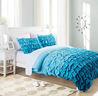 Cassiel Home Twin Comforter Sets for Girls Boys - 3 pcs Waterfall Ruffle Comforter Set - Pinched Pleat Bedding Set for Teen Kids (Teal, Twin)
