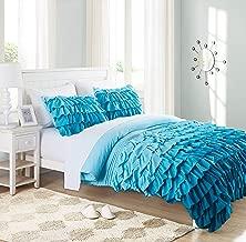 Cassiel Home Gorgeous 3 Pcs Winter Waterfall Flowing Ruffle Comforter Set Girl's Bedding Set Gifts for Kids Teen (Queen, Teal)