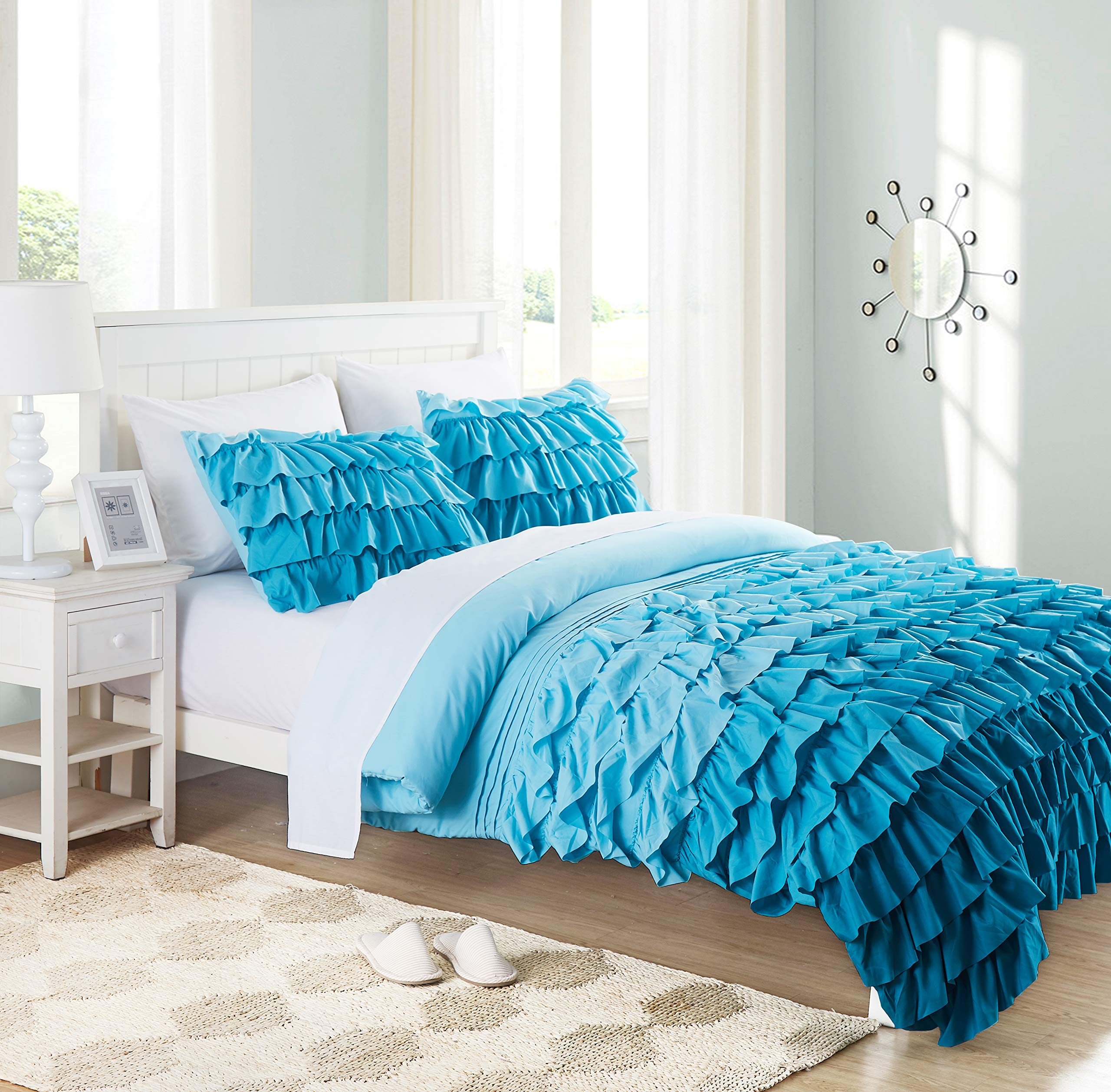 Cassiel Home Twin Comforter Sets For Girls Boys 3 Pcs Waterfall Ruffle Set Pinched Pleat Bedding Teen Kids Teal Buy Online In Kenya At Desertcart Co Ke Productid 138949527