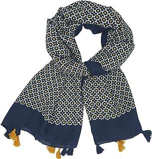 Foulard Femme 6 Couleurs Bleu Marine, Jaune Moutarde, Rouge Bordeaux, Noir, vert, Orange motif Petites Fleurs Écharpe Femm...