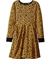 Leopard Skin Long Sleeve Waisted Dress (Toddler/Little Kids/Big Kids)
