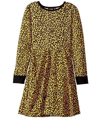 Rock Your Baby Leopard Skin Long Sleeve Waisted Dress (Toddler/Little Kids/Big Kids) (Mustard) Girl