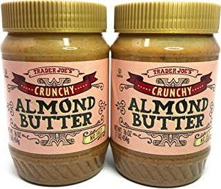 Trader Joes Crunchy No Salt Almond Butter, 16 Ounce (Pack of 2)