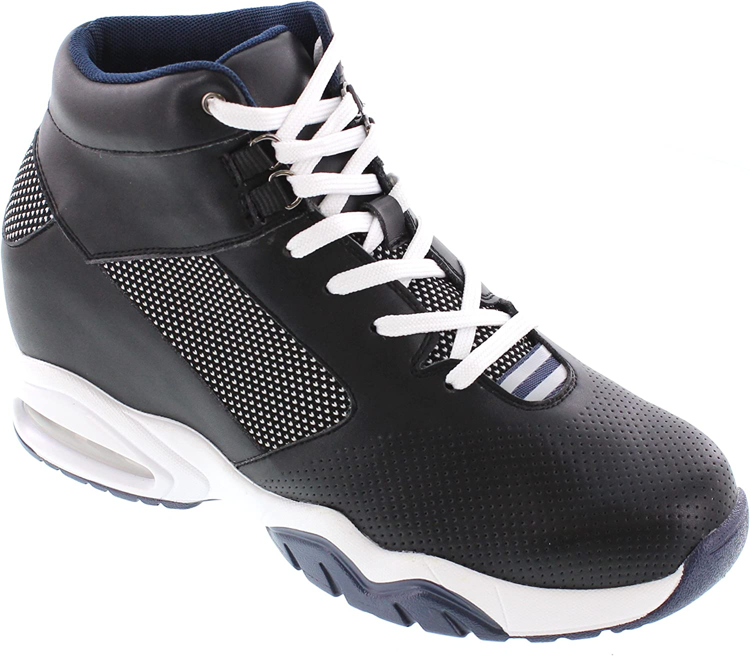 TOTO - H29011 - 3.6 Inches Taller - Height Increasing Elevator shoes - Black bluee Fashion Sneakers