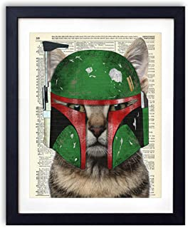 Boba Cat, Star Cat Kids Bedroom Wall Decor, Vintage Wall Art Upcycled Dictionary Art Print Poster For Kids Room Decor 8x10 inches, Unframed