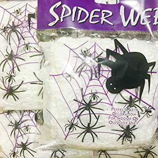 Halloween Spider Webs Spiderwebs With Plastic Spiders(200 Square Feet/pack) - Every pack 60g & 4 Fake Spiders, Halloween Decorations - 1 pack