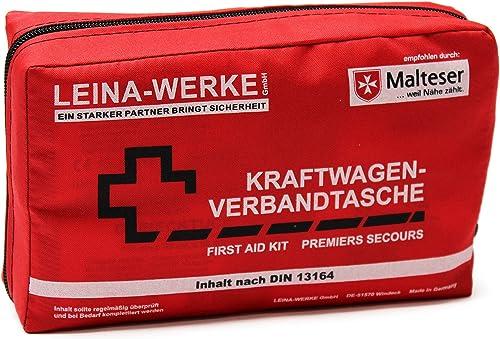 KFZ-Kombiverbandtasche Rot Verbandmaterial nach DIN 13164 Verbandtasche f/ür Erste Hilfe mit Brosch/üre