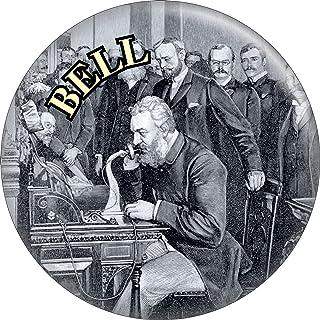 "Alexander Graham Bell - On Telephone - 2.25"" Round Magnet"