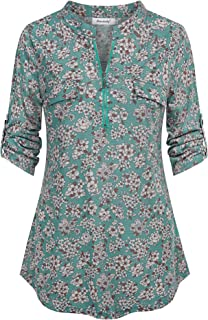 Ninedaily Women's 3/4 Sleeve Plaid Shirts Zip Floral Casual Tunic Blouse Tops
