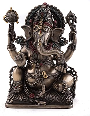 """Top Collection 5.5"""" H Sitting Ganesh (Ganesha) Hindu Elephant God of Success. Good Protection. Bronze Powder Mixed with Resin - Bronze Finish with Color Accents."""