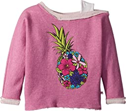 Appaman Kids - Ulta Soft Flower Pineapple Off Shoulder Sweatshirt (Toddler/Little Kids/Big Kids)