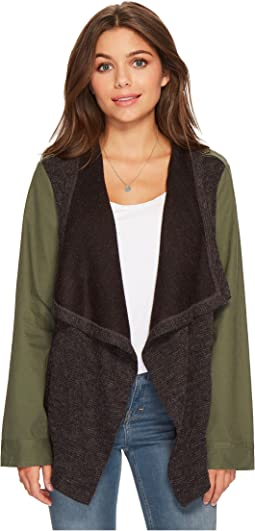 Lakani Cotton Twill Jacket with Contrast Drapey Knit Front