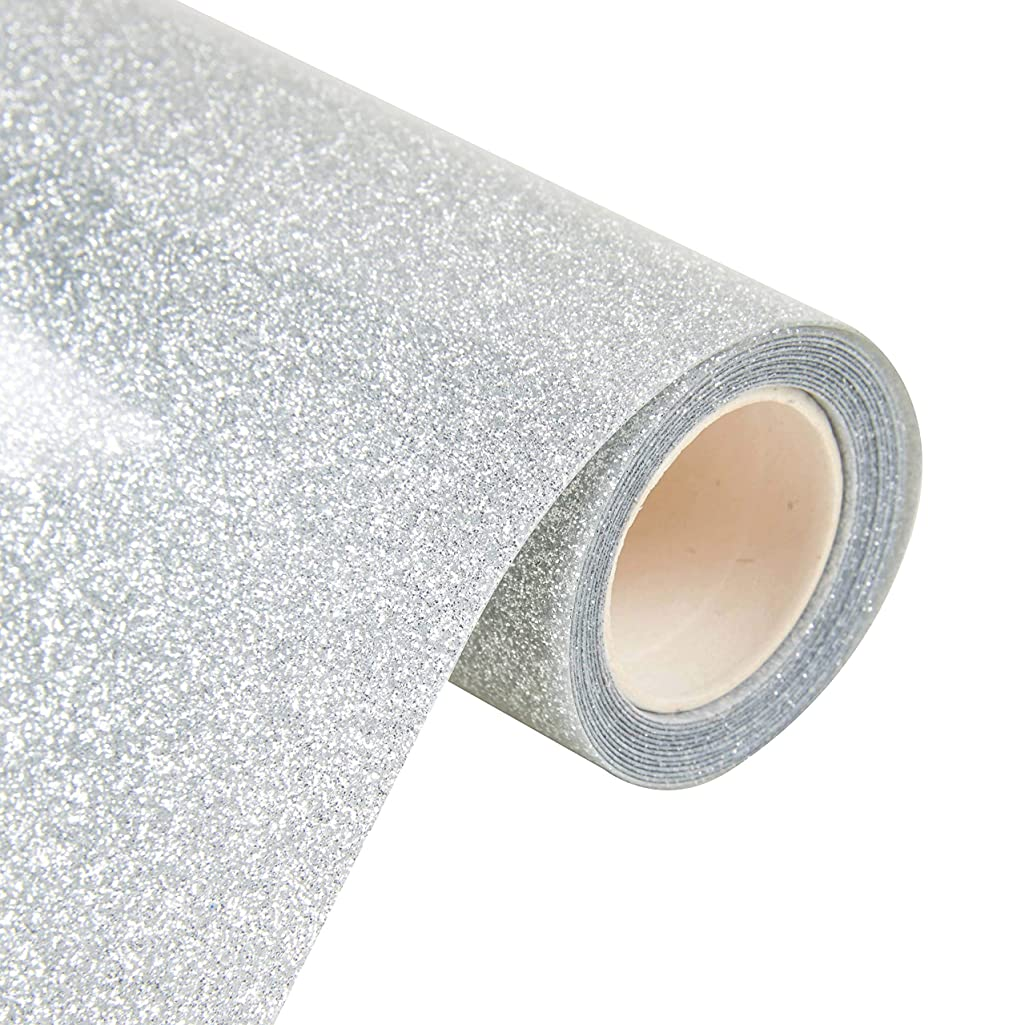 Decormy 9.8inch by 63inch Glitter Iron on Heat Transfer Vinyl Roll for T-Shirt Garments Bags Other Fabrics (25cmx1.6m) (Silver)