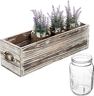 18 Inch Rustic Wood Flowers Planter Box with 4 Clear Glass Mason Jar, Decorative Centerpiece