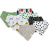 8-Pack Lindo Babee 100% Cotton with Fleece Baby Bandana Drool Bibs for Boys & Girls