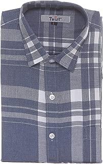 Twist Men's Italian Cotton Chekered Half Sleeve Shirt