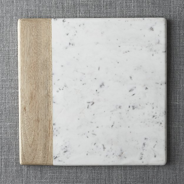 Wood Marble Square Platter | Crate and Barrel