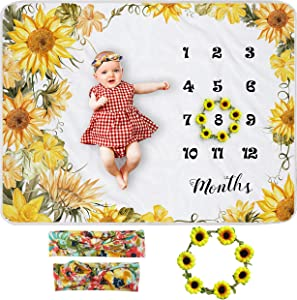 Yoothy Sunflower Baby Monthly Milestone Blanket Girl, Floral Newborns Month Blanket Gift for Baby Shower, Soft Plush Photo Prop Blanket, Wreath &Headband Included, 51''x40''