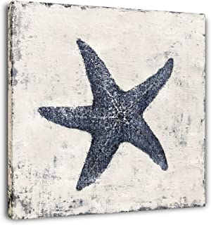 Yihui Arts Starfish Canvas Wall Art Hand Painted Blue And White Painting Pictures Coastal Artwork for Living Room Bathroom...