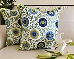 TARA Sparkling Homes Embroidered Cushion Covers 16 x 16 Set of 2, 'Shaan-e-Gulmarg' from The 'Baghs of Gulmarg'...