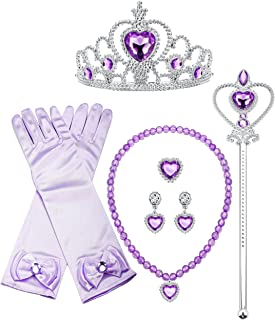 Sofia Princess Cosplay Set Girls Costume Party Favor Jewelry Set Gloves Crown Wand Necklace Earrings Ring Kids