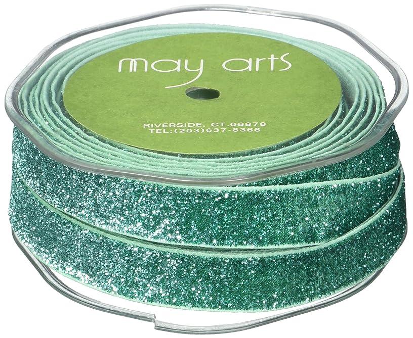 May Arts Glitter Elastic, 5/8-Inch by 10-Yard, Emerald Green