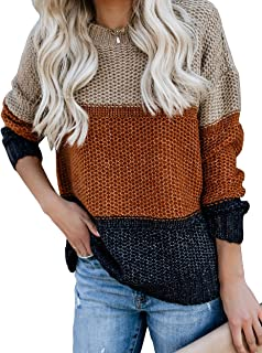 Nutashafeel Women's Striped Knit Pullover Chunky Crew Neck Sweater Long Sleeve Casual Knit Tops