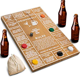 Refinery Drinkopoly Game for Adults, Fun Drinking Games for Bars and Parties, Vintage Game Board Design in Wood, Amazing Look in Bar or Man Cave, Perfect Icebreaker, Get The Party Started Right