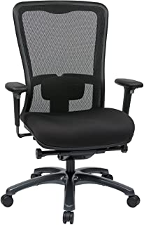 Office Star ProGrid Mesh Back and Padded Coal FreeFlex Seat, Adjustable Arms and Lumbar, Titanium Finish Base Adjustable H...