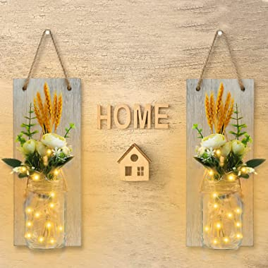 2Pcs Mason Jar Wall Scones with Fairy String Lights for Wall Decor, Dried Wheat Flower Bouquet Wall Hanging Decor for Bedroom
