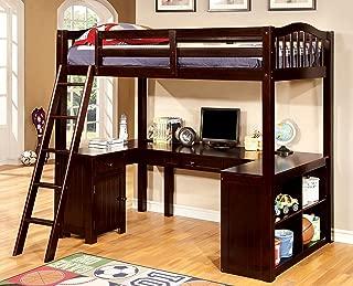 Furniture of America Lavinia Twin Loft Bed with Workstation, Dark Walnut