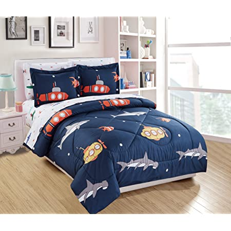 Luxury Home Collection Kids 5 Piece Comforter Set Submarine Octopus Fish Shark Blue White Green Red Yellow (Twin Comforter)