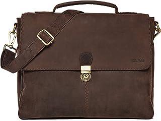 LEABAGS Texas Aktentasche Umhängetasche 13 Zoll Laptoptasche aus echtem Leder im Vintage Look