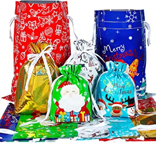 Sponsored Ad – 30PCS Christmas Drawstring Gift Bags, 6 Designs and 4 Sizes Reusable Drawstring Wrapping Bags with Ribbon f...